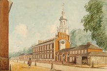 """A View of the Statehouse in 1778,"" circa 1830. Historical Society of Pennsylvania collection Bb 862 B756 #22, record # 554."