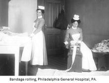 bandage rolling nurses philadelphia general hospital