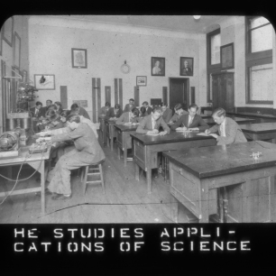 """""""He studies applications of science,"""" ca. 1920. Girard College Historical Collections."""