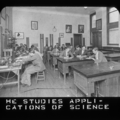 """He studies applications of science,"" ca. 1920. Girard College Historical Collections."